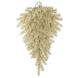 3 Foot White Gold Tinsel Artificial Christmas Teardrop Unlit
