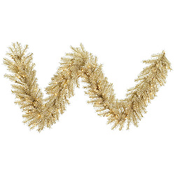 9 Foot White Gold Tinsel Garland 100 Clear Lights