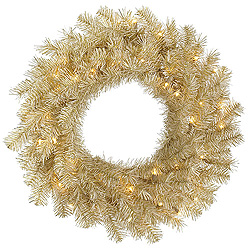 24 Inch White Gold Tinsel Wreath 50 Clear Lights