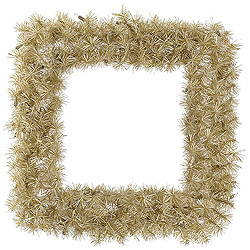 30 Inch White Gold Tinsel Square Wreath