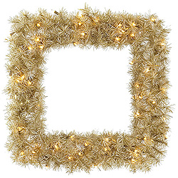 30 Inch White Gold Tinsel Square Wreath 50 Clear Lights