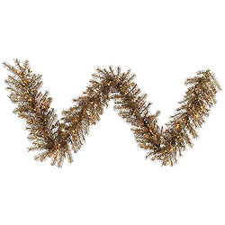 9 Foot Metal Mix Tinsel Garland 100 Clear Lights