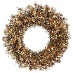 36 Inch Metal Mix Tinsel Wreath 100 Clear Lights