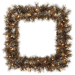 30 Inch Metal Mixed Tinsel Square Wreath 50 Clear Lights