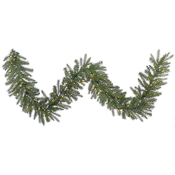 9 Foot Dunhill Fir Garland 100 LED Warm White Lights