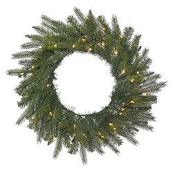 36 Inch Dunhill Fir Wreath 100 LED Warm White Lights