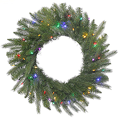 42 Inch Dunhill Fir Wreath 100 LED Multi Lights