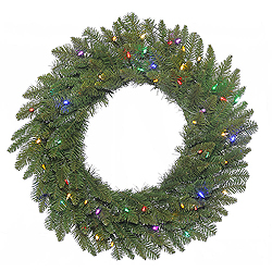 30 Inch Durango Spruce Wreath 50 LED Multi Lights