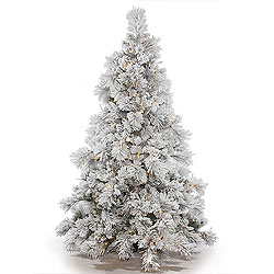 4.5 Foot Flocked Alberta Artificial Christmas Tree With Cones 250 DuraLit Clear Lights