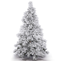 6.5 Foot Flocked Alberta Artificial Christmas Tree With Pine Cones Unlit