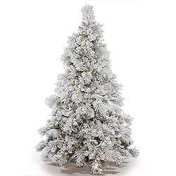 12 Foot Flocked Alberta Artificial Christmas Trees With Cones 1800 DuraLit Clear Lights