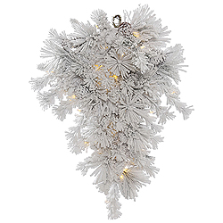 36 Inch Flocked Alberta Artificial Christmas Teardrop With Pine Cones 50 LED Warm White Lights