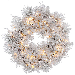 30 Inch Flocked Alberta Wreath With Pine Cones 50 DuraLit Clear Lights