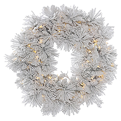 30 Inch Flocked Alberta Wreath With Pine Cones 50 LED Warm White Lights