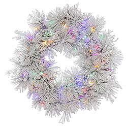 30 Inch Flocked Alberta Wreath With Pine Cones 50 LED Multi Lights