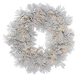48 Inch Flocked Alberta Wreath With Pine Cones 100 LED Warm White Lights