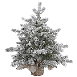 2 Foot Frosted Sable Pine Artificial Christmas Tree - Unlit - Burlap Base