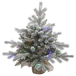 24 Inch Frosted Sable Artificial Christmas Tree 50 LED Multi Lights