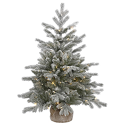 3 Foot Frosted Sable Pine Artificial Christmas Tree 100 LED Warm White Lights