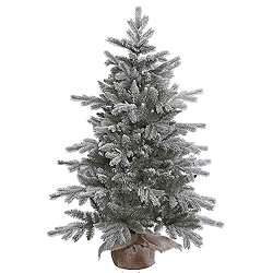 4 Foot Frosted Sable Pine Artificial Christmas Tree - Unlit - Burlap Base
