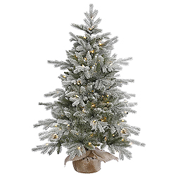 48 Inch Frosted Sable Pine Artificial Christmas Tree 100 LED Warm White Lights