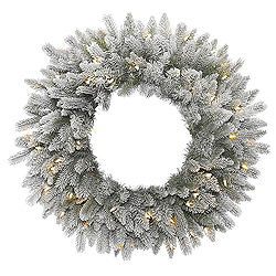 30 Inch Frosted Sable Pine Wreath 50 LED Warm White Lights