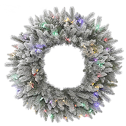 36 Inch Frosted Sable Pine Wreath 100 LED Multi Lights