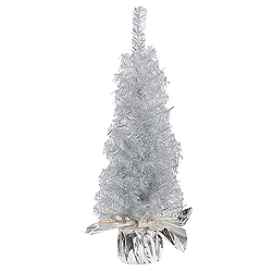 24 Inch Crystal Silver Artificial Christmas Tree Unlit