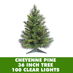 3 Foot Cheyenne Pine Artificial Christmas Tree 100 DuraLit Clear Lights