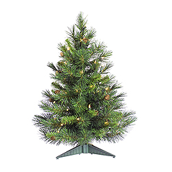 3 Foot Cheyenne Pine Artificial Christmas Tree 100 LED Warm White Lights
