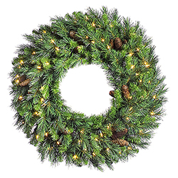 24 Inch Cheyenne Pine Wreath 50 DuraLit Clear Lights