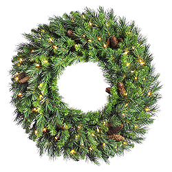 30 Inch Cheyenne Pine Artificial Christmas Wreath 100 LED Warm White Lights