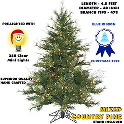 4.5 Foot Mixed Country Pine Lighted Artificial Christmas Tree Unlit