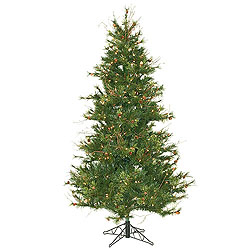 6.5 Foot Slim Mix Country Artificial Christmas Tree 400 DuraLit Clear Lights