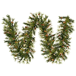 9 Foot Mixed Country Pine Garland 50 LED Warm White Lights