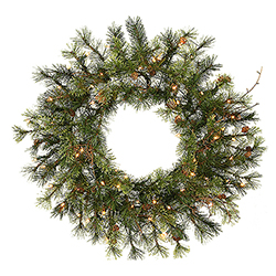 24 Inch Prelit Mixed Country Artificial Christmas Wreath 50 Clear Lights