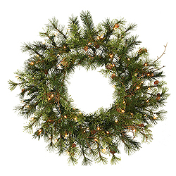 24 Inch Mixed Country Wreath 50 LED Warm White Lights