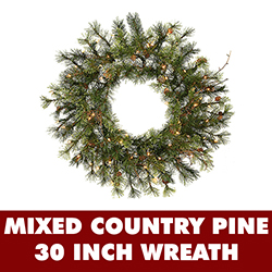 30 Inch Lighted Mixed Country Pine Wreath With Clear Lights