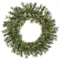 36 Inch Prelit Mixed Country Artificial Christmas Wreath 100 Clear Lights