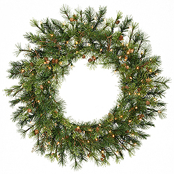 3 Foot Mixed Country Wreath 100 LED Warm White Lights