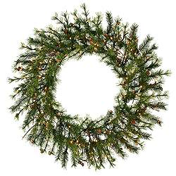 4 Foot Mixed Country Wreath 100 LED Warm White Lights
