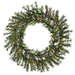 60 Inch Prelit Mixed Country Wreath 280 Clear Lights