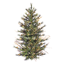 3 Foot Mixed Country Artificial Christmas Wall Tree 100 Clear Lights