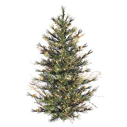 4 Foot Mixed Country Pine Artificial Christmas Wall Tree 150 Clear Lights
