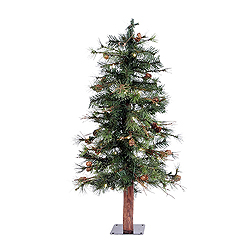 3 Foot Mixed Country Artificial Christmas Tree 50 LED Warm White Lights