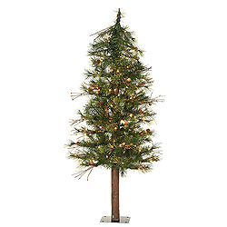4 Foot Mixed Country Alpine Artificial Christmas Tree 100 Clear Lights