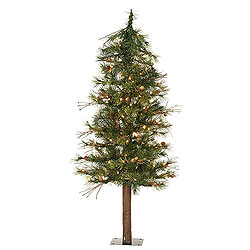 6 Foot Mixed Country Alpine Artificial Christmas Tree 200 Clear Lights