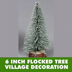6 Inch Flocked Village Tree Wood Stand 4 per Set