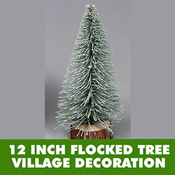 12 Inch Flocked Village Tree - Wood Stand