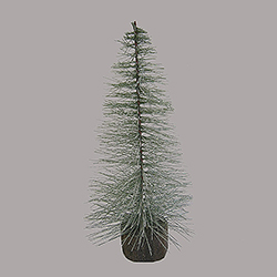 12 Inch Blue Spruce Frosted Village Tree Wood Stand 4 per Set